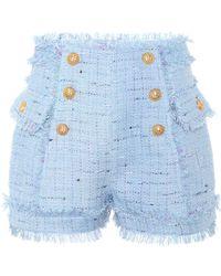 Balmain - Tweed Shorts - Lyst