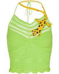 Loewe Paula's Ibiza top de croché adornado - Verde