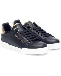 Dolce & Gabbana Sneakers Portofino aus Leder - Schwarz
