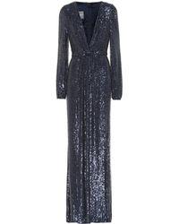 Monique Lhuillier Vestido de fiesta de lentejuelas - Azul