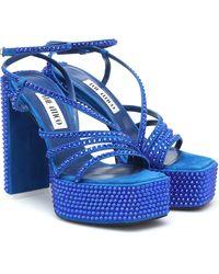 The Attico Sandalen Venice mit Kristallen - Blau