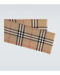 Burberry Bufanda de lana y seda de cuadros - Neutro