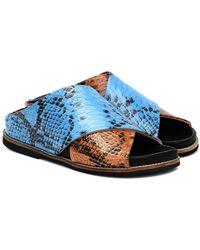 Ganni Sandali in pelle stampata - Blu