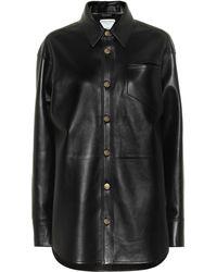 Bottega Veneta Nappa Leather Shirt Jacket - Black