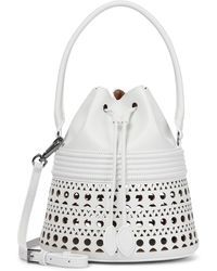 Alaïa Bucket-Bag Corset Small aus Leder - Weiß