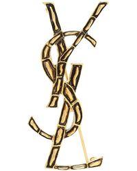 Saint Laurent Logo Brooch - Metallic