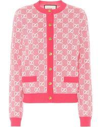 Gucci GG-jacquard Wool-blend Cardigan - Pink