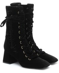 Zimmermann Lace-up Velvet Ankle Boots - Black