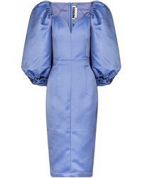 ROTATE BIRGER CHRISTENSEN Irina Jacquard Midi Dress - Blue