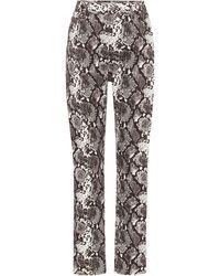 The Attico Pantalon droit Dua imprimé à taille haute en coton - Gris