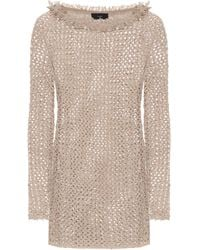 Alanui Dune Cotton And Silk-knit Minidress - Natural