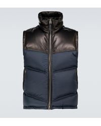 Tom Ford Nylon And Leather Down-filled Gilet - Blue