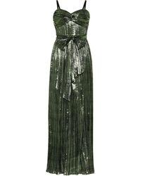 Jonathan Simkhai Vestido de fiesta metalizado plisado - Verde