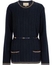 Gucci Pull en laine et coton à ornements - Bleu