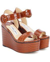 Jimmy Choo Exclusive To Mytheresa – Abigail 100 Platform Wedge Sandals - Brown