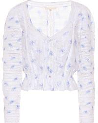 LoveShackFancy Top Sabrina de algodón floral - Azul
