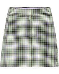 Tibi Checked Miniskirt - Green