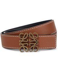 Loewe Anagram Reversible Leather Belt - Brown
