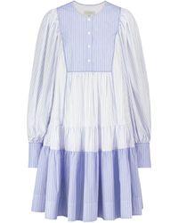 Lee Mathews Robe longue Diana en coton à rayures - Bleu