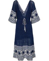 Anna Kosturova Abito lungo Indigo in cotone crochet - Blu