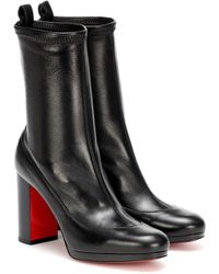 Christian Louboutin Contrevent 100 Leather Ankle Boots - Black
