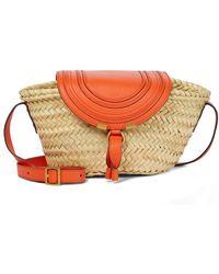 Chloé Marcie Leather-trimmed Straw Shoulder Bag - Natural