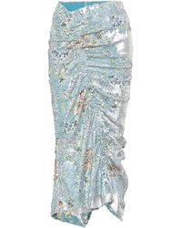 Preen By Thornton Bregazzi Floral Sequined Skirt - Blue