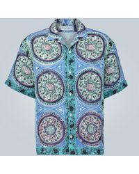 JW Anderson Kurzarm-Leinenhemd mit Print - Blau