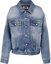 MM6 by Maison Martin Margiela Cutout Denim Jacket - Blue