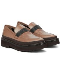 Brunello Cucinelli Embellished Leather Loafers - Natural