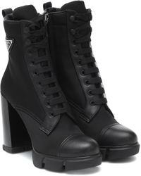 Prada Logo-appliquéd Nylon And Leather Ankle Boots - Black
