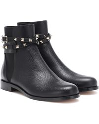 Valentino 20mm Rockstud Grained Leather Boots - Black
