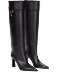 Versace Virtus Knee-high Leather Boots - Black