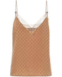 Gucci GG Silk-crêpe Camisole - Natural