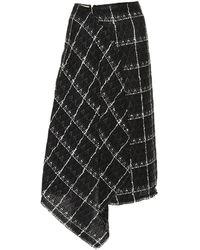 Roland Mouret Plaid Cotton-blend Skirt - Black