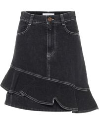 See By Chloé Ruffle Denim Miniskirt - Black