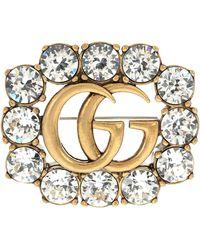 Gucci Brosche GG mit Kristallen - Mettallic