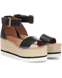 See By Chloé Glyn Leather Espadrille Mid Wedge Sandals - Black