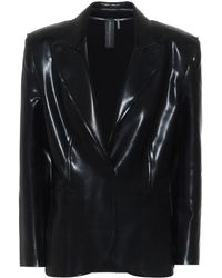 Norma Kamali Faux-leather Blazer - Black