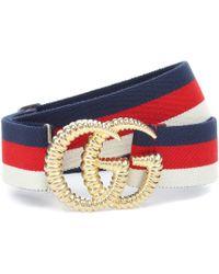 Gucci GG Striped Web Belt - Blue