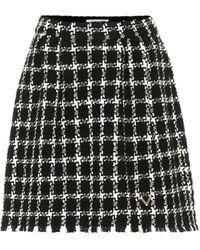 Valentino Tweed Wool-blend Miniskirt - Black