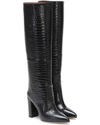Paris Texas Croc-effect Leather Knee-high Boots - Black
