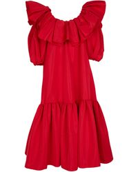 Alexander McQueen Ruffled Poly-faille Gown - Red