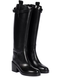 Ann Demeulemeester Leather Knee-high Riding Boots - Black