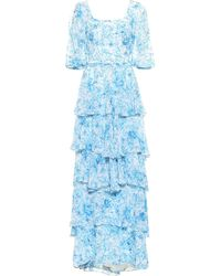 Costarellos - Floral Chiffon Gown - Lyst