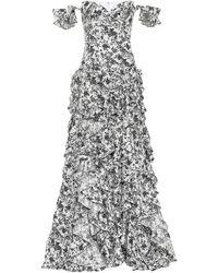 Caroline Constas Robe longue imprimée en coton - Noir