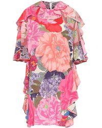 Valentino Vestido corto de seda floral - Rosa