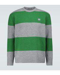 Acne Studios Gestreifter Pullover Nimah aus Wolle - Grün