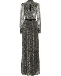 Rebecca Vallance Vienna Tie-detailed Belted Leopard-jacquard Maxi Dress - Metallic