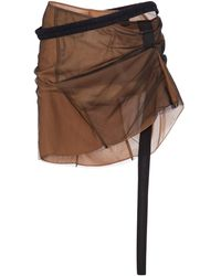 Nensi Dojaka Tulle Miniskirt - Brown